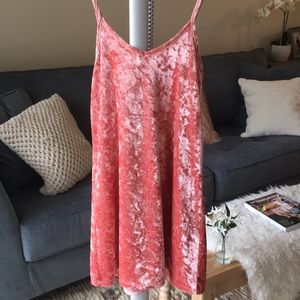 Velvet salmon dress great to wear hanging out.